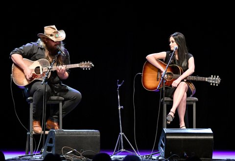 LOS ANGELES, CA - SEPTEMBER 27: Singer Chris Stapleton and Singer Kacey Musgraves and Rock   perform onstage during All For The Hall Los Angeles A benefit concert presented by The Country Music Hall of Fame And Museum  at The Novo by Microsoft on September 27, 2016 in Los Angeles, California.  (Photo by Mike Windle/Getty Images for Country Music Hall of Fame and Museum)