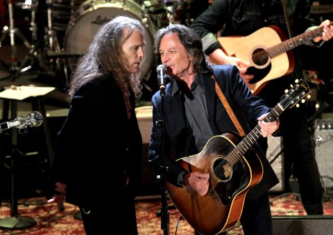 NASHVILLE, TN - SEPTEMBER 21: Timothy B. Schmit and Nitty Gritty Dirt Band's Jeff Hanna perform onstage at the Americana Honors & Awards 2016 at Ryman Auditorium on September 21, 2016 in Nashville, Tennessee. at Ryman Auditorium on September 21, 2016 in Nashville, Tennessee.  (Photo by Terry Wyatt/Getty Images for Americana Music)