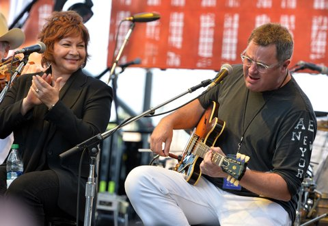 NASHVILLE, TN - MAY 20:  Singer/Songwriter & Nashville Residents Dawn Sears and Vince Gill members of The Time Jumpers perform at The Music City Center Grand Opening Celebration on May 20, 2013 in Nashville, Tennessee.  (Photo by Rick Diamond/Getty Images)
