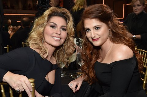 NASHVILLE, TN - OCTOBER 19:  Singer-songwriters Shania Twain (L) and Meghan Trainor (R) pose for photos during CMT Artists of the Year 2016 on October 19, 2016 in Nashville, Tennessee.  (Photo by John Shearer/Getty Images for CMT)