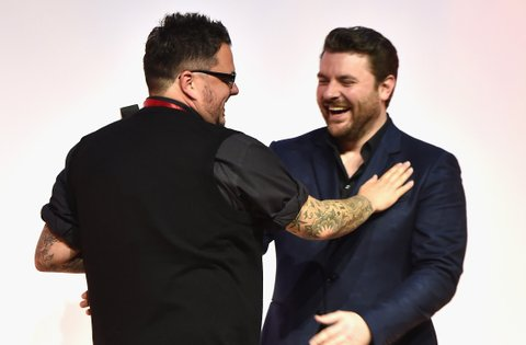 NASHVILLE, TN - OCTOBER 30:  Songwriter Josh Hoge and singer Chris Young at the SESAC Nashville Music Awards at Country Music Hall of Fame and Museum on October 30, 2016 in Nashville, Tennessee.  (Photo by Michael Loccisano/Getty Images for SESAC)