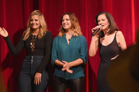 NASHVILLE, TN - NOVEMBER 01:  (L-R) Singer-songwriters Lauren Alaina, Martina McBride and Senior Vice President of Music Strategy for CMT Leslie Fram speak onstage during CMT's Next Women of Country on November 1, 2016 in Nashville, Tennessee.  (Photo by Rick Diamond/Getty Images for CMT)