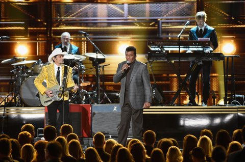 NASHVILLE, TN - NOVEMBER 02:  Brad Paisley and Charley Pride perform onstage at the 50th annual CMA Awards at the Bridgestone Arena on November 2, 2016 in Nashville, Tennessee.  (Photo by Gustavo Caballero/Getty Images)