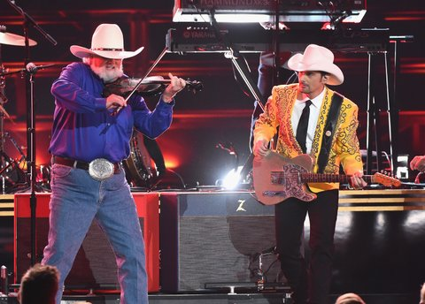 NASHVILLE, TN - NOVEMBER 02:  Charlie Daniels and Brad Paisley perform onstage at the 50th annual CMA Awards at the Bridgestone Arena on November 2, 2016 in Nashville, Tennessee.  (Photo by Rick Diamond/Getty Images)