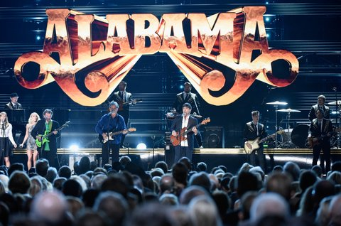 NASHVILLE, TN - NOVEMBER 02: Jeff Cook, Randy Owen, and Teddy Gentry perform onstage at the 50th annual CMA Awards at the Bridgestone Arena on November 2, 2016 in Nashville, Tennessee.  (Photo by Gustavo Caballero/Getty Images)