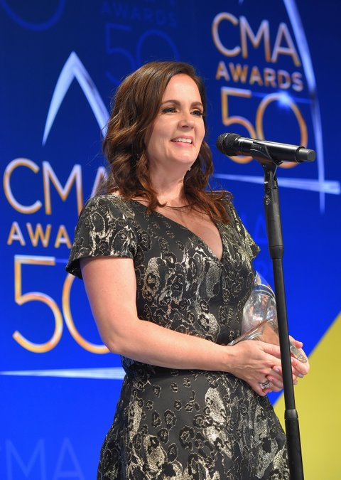 NASHVILLE, TN - NOVEMBER 02:  Songwrirer Lori McKenna poses in the press room during the 50th annual CMA Awards at the Bridgestone Arena on November 2, 2016 in Nashville, Tennessee.  (Photo by Michael Loccisano/Getty Images)