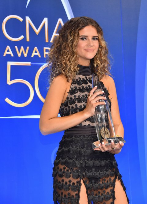 NASHVILLE, TN - NOVEMBER 02:  Maren Morris poses for a photo in the press room during the 50th annual CMA Awards at the Bridgestone Arena on November 2, 2016 in Nashville, Tennessee.  (Photo by Michael Loccisano/Getty Images)