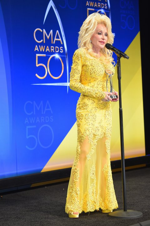 NASHVILLE, TN - NOVEMBER 02:  Recipient of the Willie Nelson Lifetime Achievement Award Dolly Parton speaks in the press room during the 50th annual CMA Awards at the Bridgestone Arena on November 2, 2016 in Nashville, Tennessee.  (Photo by Michael Loccisano/Getty Images)