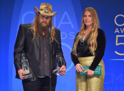 NASHVILLE, TN - NOVEMBER 02:  Chris Stapleton and his wife Morgane Stapleton pose with the Music Video of the Year and Male Vocalist of the Year awards at the 50th annual CMA Awards at the Bridgestone Arena on November 2, 2016 in Nashville, Tennessee.  (Photo by Michael Loccisano/Getty Images)
