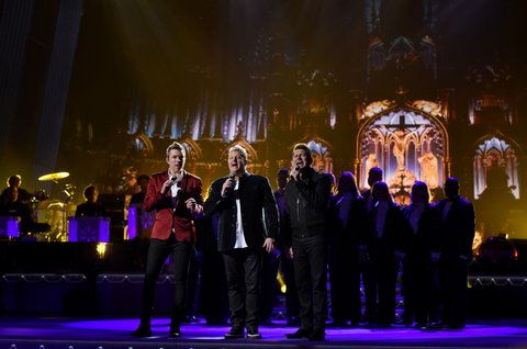 NASHVILLE, TN - NOVEMBER 08:  (L-R) Joe Don Rooney, Gary LeVox and Jay DeMarcus of Rascal Flatts perform on stage during the CMA 2016 Country Christmas on November 8, 2016 in Nashville, Tennessee.  (Photo by John Shearer/WireImage)