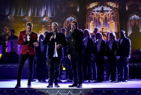 NASHVILLE, TN - NOVEMBER 08:  (L-R) Joe Don Rooney, Gary LeVox and Jay DeMarcus of Rascal Flatts perform on stage during the CMA 2016 Country Christmas on November 8, 2016 in Nashville, Tennessee.  (Photo by Rick Diamond/Getty Images)