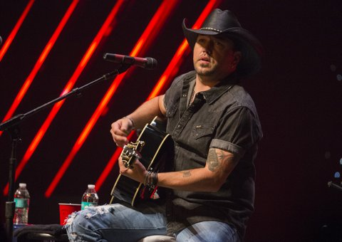 CHICAGO, ILLINOIS - NOVEMBER 09:  Singer Jason Aldean performs at the CBS RADIOs second annual Stars and Strings concert at The Chicago Theatre on November 9, 2016 in Chicago, Illinois.  (Photo by Barry Brecheisen/WireImage)