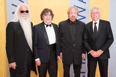 NASHVILLE, TN - NOVEMBER 02: (L-R) William Lee Golden, Richard Sterban, Duane Allen, and Joe Bonsall of The Oak Ridge Boys attend the 50th annual CMA Awards at the Bridgestone Arena on November 2, 2016 in Nashville, Tennessee.  (Photo by Taylor Hill/Getty Images)