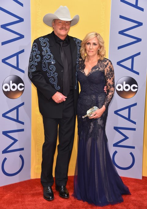 NASHVILLE, TN - NOVEMBER 02:  Singer-songwriter Alan Jackson (L) and Denise Jackson attend the 50th annual CMA Awards at the Bridgestone Arena on November 2, 2016 in Nashville, Tennessee.  (Photo by Michael Loccisano/Getty Images)