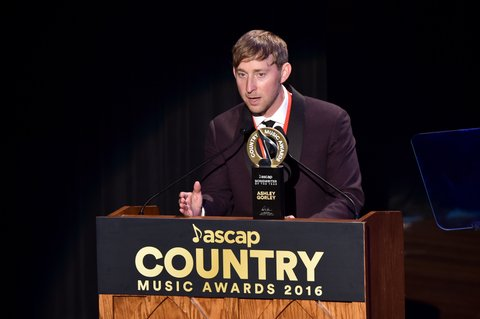 NASHVILLE, TN - OCTOBER 31:  Songwriter Ashley Gorley accepts an award during the 54th annual ASCAP Country Music awards at the Ryman Auditorium on October 31, 2016 in Nashville, Tennessee.  (Photo by Michael Loccisano/Getty Images)