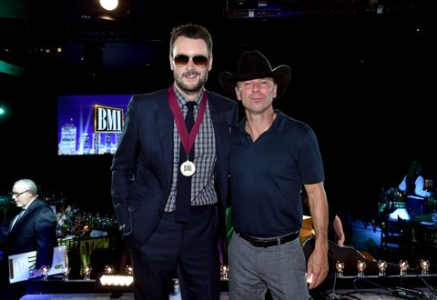 NASHVILLE, TN - NOVEMBER 01: Singer-songwriters Eric Church (L) and Kenny Chesney attend the 64th Annual BMI Country Awards at BMI on November 1, 2016 in Nashville, Tennessee.  (Photo by John Shearer/Getty Images for BMI)