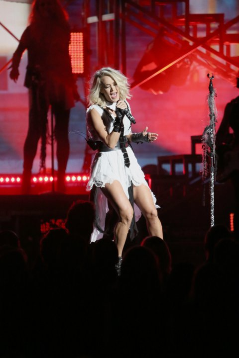 NASHVILLE, TN - NOVEMBER 02:  Carrie Underwood performs onstage at the 50th annual CMA Awards at the Bridgestone Arena on November 2, 2016 in Nashville, Tennessee.  (Photo by Terry Wyatt/WireImage)
