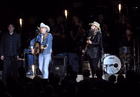 NASHVILLE, TN - NOVEMBER 02:  Dwight Yoakam and Chris Stapleton perform onstage at the 50th annual CMA Awards at the Bridgestone Arena on November 2, 2016 in Nashville, Tennessee.  (Photo by Gustavo Caballero/Getty Images)