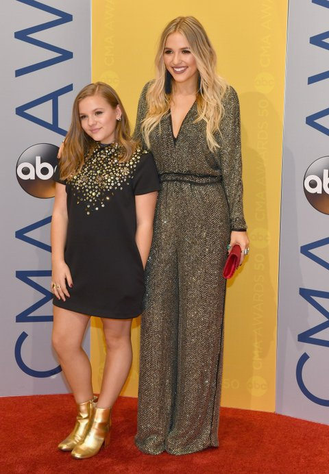NASHVILLE, TN - NOVEMBER 02:  Maisy Stella and Lennon Stella of musical duo Lennon and Maisy attend the 50th annual CMA Awards at the Bridgestone Arena on November 2, 2016 in Nashville, Tennessee.  (Photo by Jason Davis/FilmMagic)