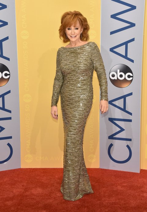 NASHVILLE, TN - NOVEMBER 02: Singer-songwriter Reba McEntire attends the 50th annual CMA Awards at the Bridgestone Arena on November 2, 2016 in Nashville, Tennessee.  (Photo by John Shearer/WireImage)