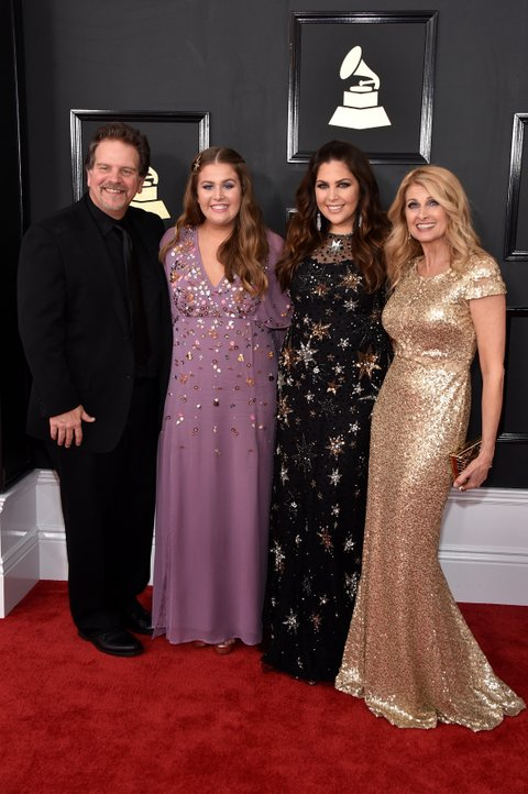 LOS ANGELES, CA - FEBRUARY 12:  (L-R) Recording artists Lang Scott, Rylee Scott, Hillary Scott and Linda Davis attend The 59th GRAMMY Awards at STAPLES Center on February 12, 2017 in Los Angeles, California.  (Photo by John Shearer/WireImage)