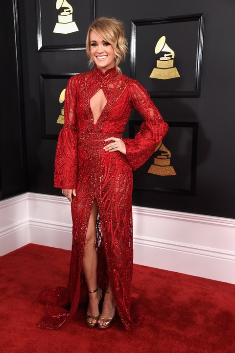 LOS ANGELES, CA - FEBRUARY 12:  Carrie Underwood attends The 59th GRAMMY Awards at STAPLES Center on February 12, 2017 in Los Angeles, California.  (Photo by Kevin Mazur/WireImage)