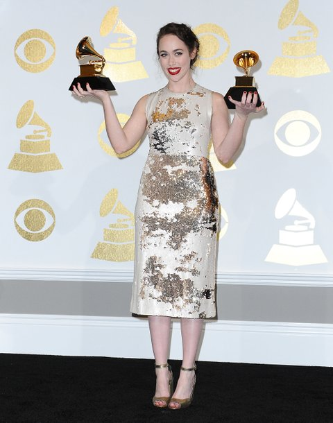 LOS ANGELES, CA - FEBRUARY 12:  Singer Sarah Jarosz poses in the press room at the 59th GRAMMY Awards at Staples Center on February 12, 2017 in Los Angeles, California.  (Photo by Jason LaVeris/FilmMagic)