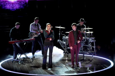 LOS ANGELES, CA - FEBRUARY 12:  Recording artist Kelsea Ballerini (3rd L) and Lukas Graham music group members (from L) Morten Ristorp, Magnus Larsson, Lukas Forchhammer, and Mark Falgren perform onstage during The 59th GRAMMY Awards at STAPLES Center on February 12, 2017 in Los Angeles, California.  (Photo by Kevin Winter/Getty Images for NARAS)