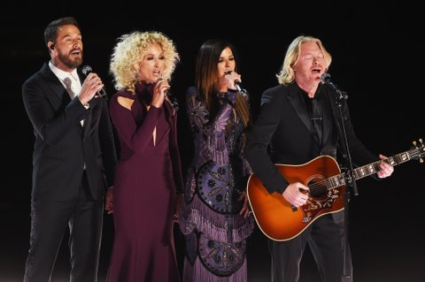 LOS ANGELES, CA - FEBRUARY 12:  (L-R) Recording artists Jimi Westbrook, Kimberly Schlapman, Karen Fairchild, and Philip Sweet of music group Little Big Town perform onstage during The 59th GRAMMY Awards at STAPLES Center on February 12, 2017 in Los Angeles, California.  (Photo by Kevin Winter/Getty Images for NARAS)