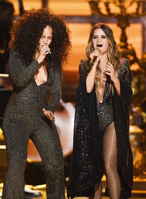 LOS ANGELES, CA - FEBRUARY 12:  Recording artists Alicia Keys (L) and Maren Morris perform onstage during The 59th GRAMMY Awards at STAPLES Center on February 12, 2017 in Los Angeles, California.  (Photo by Kevin Winter/Getty Images for NARAS)