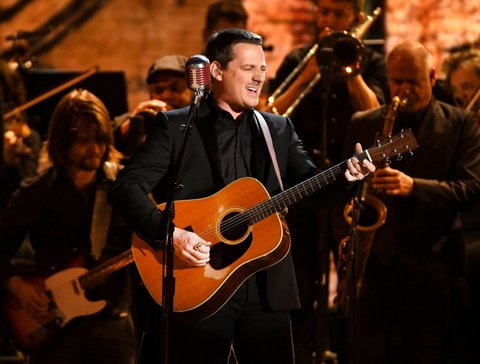 LOS ANGELES, CA - FEBRUARY 12:  Recording artist Sturgill Simpson performs onstage during The 59th GRAMMY Awards at STAPLES Center on February 12, 2017 in Los Angeles, California.  (Photo by Kevork Djansezian/Getty Images)