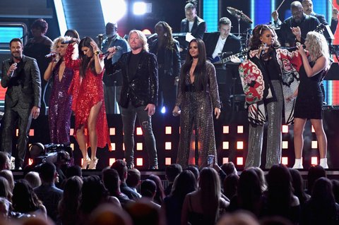 LOS ANGELES, CA - FEBRUARY 12:  (L-R) Recording artists Jimi Westbrook, Kimberly Schlapman, Karen Fairchild, and Philip Sweet of Little Big Town, Demi Lovato, Andra Day, and Tori Kelly perform onstage during The 59th GRAMMY Awards at STAPLES Center on February 12, 2017 in Los Angeles, California. (Photo by Kevork Djansezian/Getty Images)