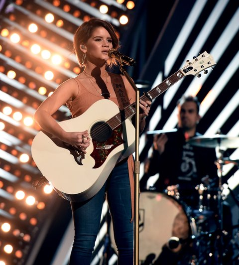 LAS VEGAS, NV - MARCH 30:  Singer Maren Morris rehearses onstage during for the 52nd Academy Of Country Music Awards at T-Mobile Arena on March 30, 2017 in Las Vegas, Nevada.  (Photo by Kevin Winter/ACMA2017/Getty Images for ACM)