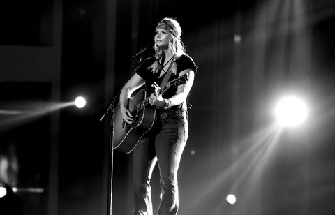LAS VEGAS, NV - MARCH 31:  (EDITORS NOTE: This image has been converted to black and white.)  Musician Miranda Lambert rehearses onstage during for the 52nd Academy Of Country Music Awards at T-Mobile Arena on March 31, 2017 in Las Vegas, Nevada.  (Photo by Kevin Winter/ACMA2017/Getty Images for ACM)