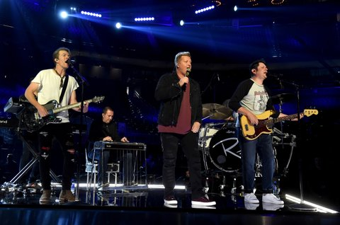LAS VEGAS, NV - MARCH 31:  (L-R) Musicians Joe Don Rooney, Gary LeVox, and Jay DeMarcus of Rascal Flatts rehearse onstage during for the 52nd Academy Of Country Music Awards at T-Mobile Arena on March 31, 2017 in Las Vegas, Nevada.  (Photo by Kevin Winter/ACMA2017/Getty Images for ACM)