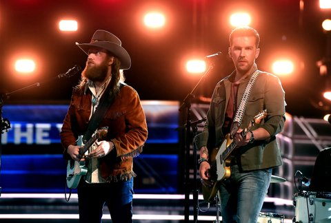 LAS VEGAS, NV - MARCH 31:  Musicians John Osborne (L) and T.J. Osborne of Brothers Osborne rehearse onstage during for the 52nd Academy Of Country Music Awards at T-Mobile Arena on March 31, 2017 in Las Vegas, Nevada.  (Photo by Kevin Winter/ACMA2017/Getty Images for ACM)