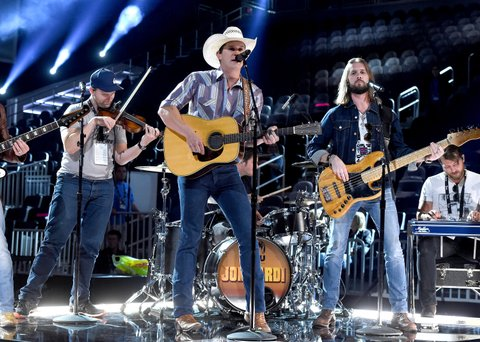 LAS VEGAS, NV - MARCH 31:  Singer Jon Pardi rehearses onstage during for the 52nd Academy Of Country Music Awards at T-Mobile Arena on March 31, 2017 in Las Vegas, Nevada.  (Photo by Kevin Winter/ACMA2017/Getty Images for ACM)