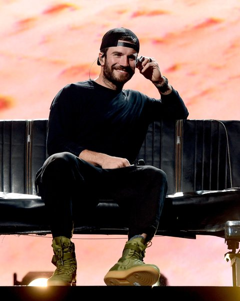 LAS VEGAS, NV - MARCH 31:  Singer Sam Hunt rehearses onstage during for the 52nd Academy Of Country Music Awards at T-Mobile Arena on March 31, 2017 in Las Vegas, Nevada.  (Photo by Kevin Winter/ACMA2017/Getty Images for ACM)