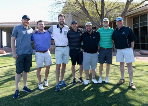 LAS VEGAS, NV - APRIL 01: Singer Eric Paslay, singer-songwriters Scotty McCreery, Charles Kelley, Cole Swindell, rapper Colt Ford, musicians Jacob Davis and Tracy Lawrence attend the ACM Lifting Lives Golf Classic at TPC Las Vegas on April 1, 2017 in Las Vegas, Nevada.  (Photo by Bryan Steffy/ACMA2017/Getty Images for ACM)