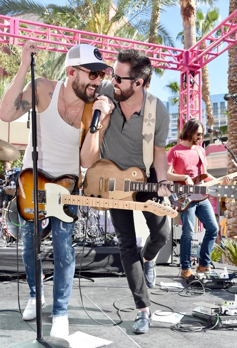 LAS VEGAS, NV - APRIL 01:  Musicians Matthew Ramsey (L) and Brad Tursi of Old Dominion at the ACM Pool Party For A Cause on April 1, 2017 in Las Vegas, Nevada.  (Photo by Frazer Harrison/Getty Images for ACM)