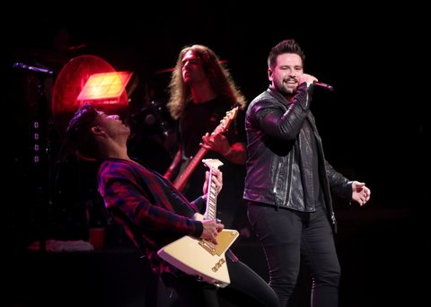 LAS VEGAS, NV - APRIL 01:  Musicians Dan Smyers (L) and Shay Mooney of Dan + Shay  perform onstage at the ACM Party For A Cause: House Of Blues on April 1, 2017 in Las Vegas, Nevada.  (Photo by Christopher Polk/Getty Images for ACM)