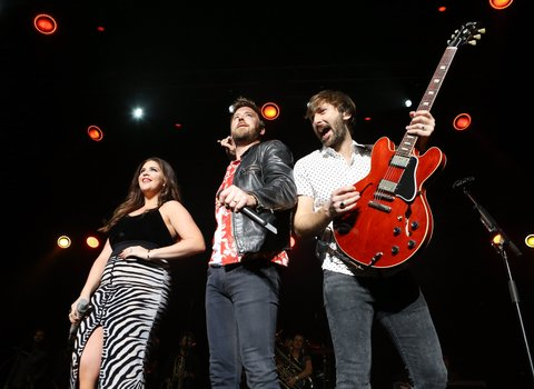 LAS VEGAS, NV - APRIL 01:  Hillary Scott, Charles Kelley, and Dave Haywood of Lady Antebellum perform onstage during the 5th ACM Party for a Cause held at The Joint inside the Hard Rock Hotel & Casino on April 1, 2017 in Las Vegas, Nevada.  (Photo by Michael Tran/FilmMagic)