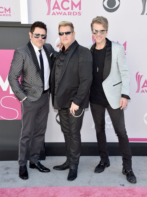 LAS VEGAS, NV - APRIL 02:  (L-R) Recording artists Jay DeMarcus, Gary LeVox, and Joe Don Rooney of music group Rascal Flatts attend the 52nd Academy Of Country Music Awards at Toshiba Plaza on April 2, 2017 in Las Vegas, Nevada.  (Photo by John Shearer/WireImage)