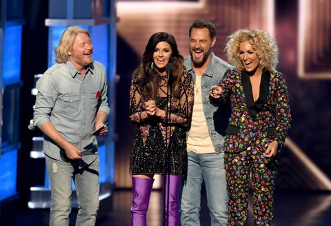 LAS VEGAS, NV - APRIL 02:  (L-R) Recording artists Phillip Sweet, Karen Fairchild, Jimi Westbrook, and Kimberly Schlapman of music group Little Big Town accept the Vocal Group of the Year award onstage during the 52nd Academy Of Country Music Awards at T-Mobile Arena on April 2, 2017 in Las Vegas, Nevada.  (Photo by Ethan Miller/Getty Images)