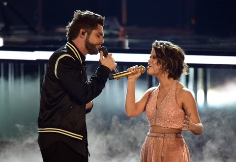 LAS VEGAS, NV - APRIL 02:  Recording artists Thomas Rhett (L) and Maren Morris perform onstage during the 52nd Academy Of Country Music Awards at T-Mobile Arena on April 2, 2017 in Las Vegas, Nevada.  (Photo by Ethan Miller/Getty Images)
