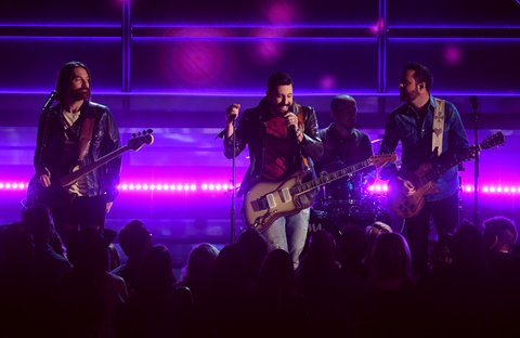 LAS VEGAS, NV - APRIL 02:  (L-R) Recording artists Geoff Sprung, Matthew Ramsey, Whit Sellers, and Brad Tursi of music group Old Dominion perform onstage during the 52nd Academy Of Country Music Awards at T-Mobile Arena on April 2, 2017 in Las Vegas, Nevada.  (Photo by Ethan Miller/Getty Images)