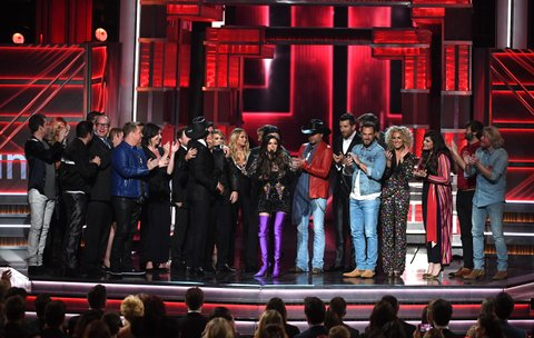LAS VEGAS, NV - APRIL 02:  Recording artist Karen Fairchild of Little Big Town accepts the Video of the Year award for 'Forever Country' on behalf of fellow winners onstage during the 52nd Academy Of Country Music Awards at T-Mobile Arena on April 2, 2017 in Las Vegas, Nevada.  (Photo by Ethan Miller/Getty Images)