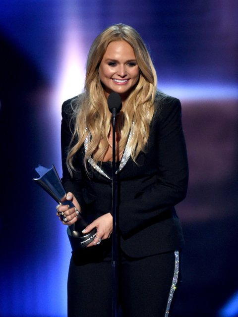 LAS VEGAS, NV - APRIL 02:  Recording artist Miranda Lambert accepts the Album of the Year award for 'The Weight of These Wings' onstage during the 52nd Academy Of Country Music Awards at T-Mobile Arena on April 2, 2017 in Las Vegas, Nevada.  (Photo by Ethan Miller/Getty Images)