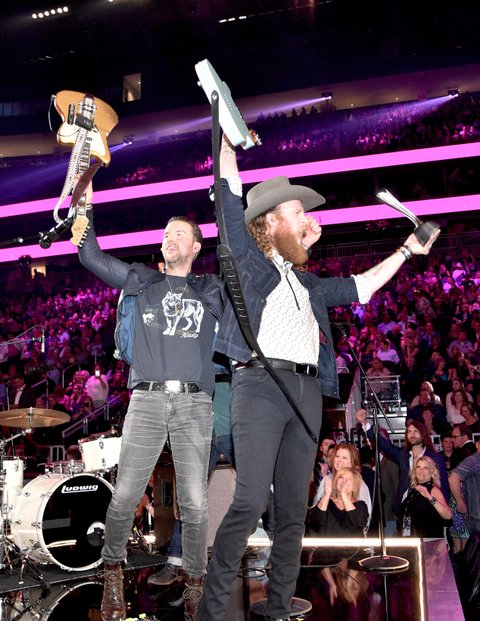 LAS VEGAS, NV - APRIL 02:  Musicians T.J. Osborne (L) and John Osborne of the music group Brothers Osborne perform onstage during the 52nd Academy Of Country Music Awards at T-Mobile Arena on April 2, 2017 in Las Vegas, Nevada.  (Photo by Kevin Mazur/ACMA2017/Getty Images for ACM)