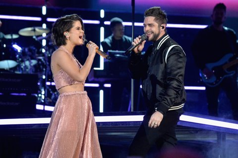 LAS VEGAS, NV - APRIL 02:  Singers Maren Morris (L) and Thomas Rhett perform onstage at the 52nd Academy Of Country Music Awards at T-Mobile Arena on April 2, 2017 in Las Vegas, Nevada.  (Photo by Jeff Kravitz/ACMA2017/FilmMagic for ACM)